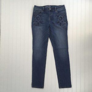 International Concepts Floral Embroidered Jeans